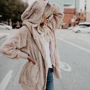 Sweaters - Fuzzy Faux Fur Hoodie Jacket